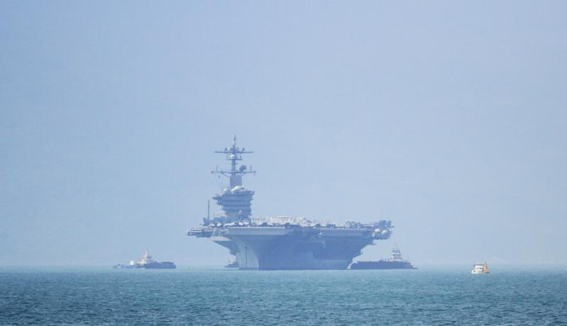 The USS Carl Vinson pulls into port in Danang on 5 March. Photo: Getty Images.
