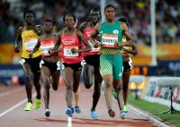 Caster Semenya, in green, competing in the women's 800-meter final at the Commonwealth Games in Australia this month.CreditMark Schiefelbein/Associated Press