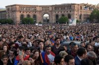 Supporters of Armenia's protest leader Nikol Pashinyan rally in downtown Yerevan on Thursday. (Karen Minasyan/AFP/Getty Images)