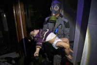 A rescue worker carried a child following an alleged chemical weapons attack last week in the rebel-held town of Douma, near Damascus, Syria.CreditSyrian Civil Defense White Helmets, via Associated Press