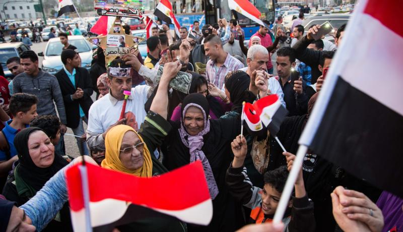 Supporters of Abdel Fattah el-Sisi celebrate at Tahrir Square after the presidential election results were announced. Photo: Getty Images.