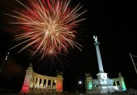 Fireworks light up Budapest on May 1, 2004, as Hungary and nine other European countries celebrate joining the European Union. On Sunday, Hungary's Euroskeptic Fidesz party is expected to win with a commanding lead. (Attila Kisbenedek/AFP/Getty Images)