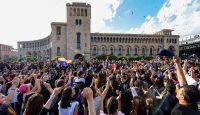 People celebrate Serzh Sargsyan's resignation in downtown Yerevan on 23 April 23. Photo: Getty Images.