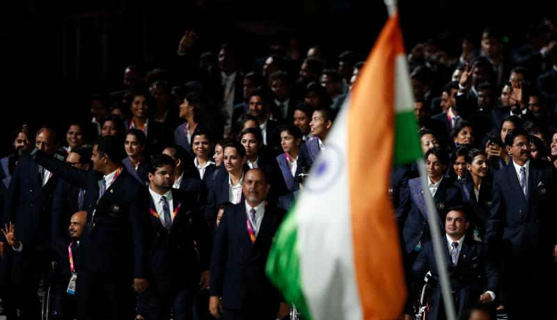 India's delegation enters for the opening ceremony of the 2018 Commonwealth Games. Photo: Getty Images.