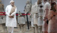 Narendra Modi visits the Terracotta Warriors exhibition on a visit to China in 2015. Photo: Getty Images.