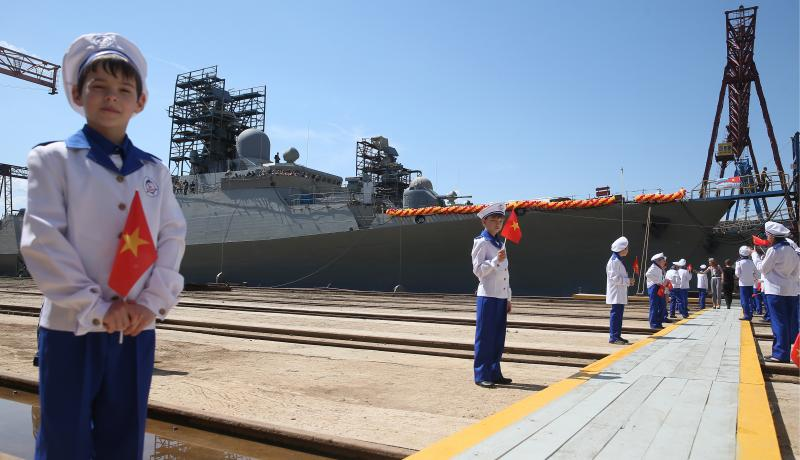 The inauguration of a frigate built by Russia for the Vietnamese navy. Photo: Getty Images.