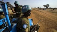 Peacekeeper troops from Ethiopia and deployed in the UN Interim Security Force for Abyei (UNISFA) patrol outside Abyei town, in Abyei state. ALBERT GONZALEZ FARRAN / AFP