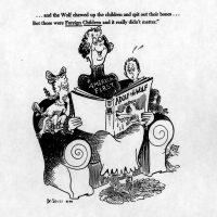 """Una caricatura del Dr. Seuss de 1941 en la que quien usa una blusa que dice """"Primero Estados Unidos"""" lee un cuento para niños sobre Adolf Hitler como lobo. La leyenda dice: """"Y el lobo masticó a los niños y escupió sus huesos, pero esos eran niños extranjeros, por lo que no importó"""". Credit Colecciones Especiales y Archivos de la Biblioteca de la Universidad de California en San Diego"""
