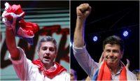 Dos de los candidatos a la presidencia de Paraguay, Mario Abdo Benítez del Partido Colorado, a la izquierda, y, a la derecha, Efraín Alegre del Partido Liberal Radical Auténtico Credit Jorge Adorno/Reuters