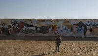 A mural at a Sahrawi refugee camp in Algeria. Photo: Getty Images.