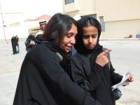 "The director Haifaa Al Mansour, left, with Waad Mohammed, who played the title role in ""Wadjda,"" filming in the streets of Riyadh, Saudi Arabia, in 2011.CreditCourtesy Haifaa Al Mansour"