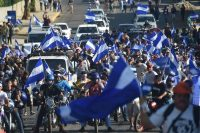 Students march during a protest against the government of President Daniel Ortega in Managua, Nicaragua, on Wednesday. (Rodrigo Arangua/AFP/Getty Images)