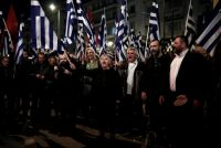 Supporters of Greece's far-right Golden Dawn party during a protest against Turkey in Athens last month.CreditAlkis Konstantinidis/Reuters