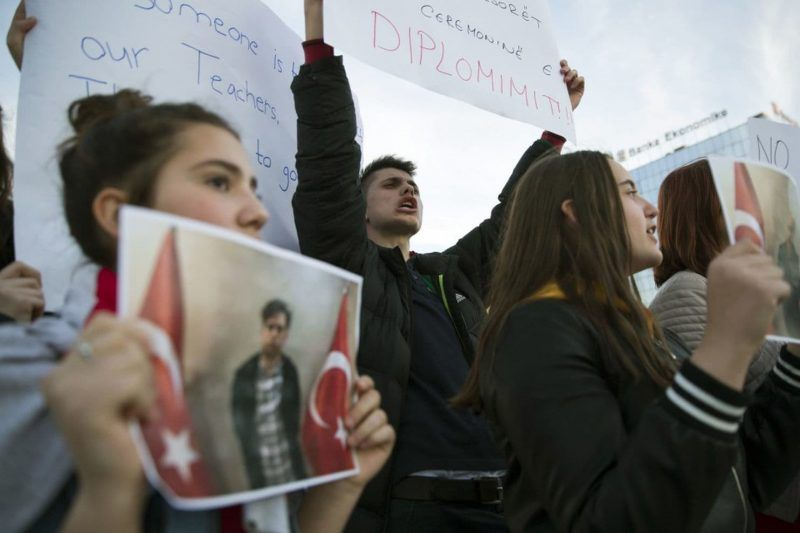 Students of Mehmet Akif College in Kosovo protest the arrest and deportation of their teachers in Kosovo's capital Pristina on March 29. (Visar Kryeziu/AP)