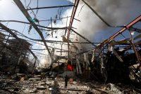 Smoke rose from a community hall where Saudi-led warplanes struck a funeral in Sana, Yemen's capital.CreditKhaled Abdullah/Reuters