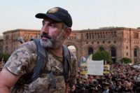 Armenia's protest leader Nikol Pashinyan attends a rally of his supporters in downtown Yerevan on April 26. (Karen Minasyan/AFP/Getty Images)