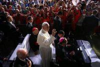 Pope Francis waves at World Youth Day volunteers and organizers in Krakow, Poland, July 31, 2016.CreditJakub Porzycki/Agencja Gazeta, via Reuters