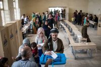People cast their ballots at a voting station on Sept. 25 in Kirkuk, Iraq. (Chris McGrath/Getty Images)