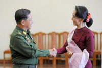 Daw Aung San Suu Kyi met with Senior Gen. Min Aung Hlaing after a meeting in 2015.CreditHyo Hein Kyaw/Agence France-Presse — Getty Images