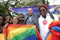 Andrea de Silva/Reuters. Activist Jason Jones celebrating with others after Trinidad and Tobago's High Court ruled against the country's anti-homosexual laws, outside the Hall of Justice, Port of Spain, Trinidad and Tobago, April 12, 2018