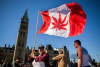 A group gathered to celebrate National Marijuana Day in Ottawa in 2016. (Chris Roussakis/AFP/Getty Images)