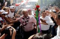 Andrés Manuel López Obrador, el candidato de Morena a la presidencia de México, en Uruapan, Michoacán, el 8 de junio de 2018 Credit Reuters
