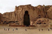 Boys play soccer in Bamian, Afghanistan where the Taliban destroyed one of two ancient Buddha statues in 2001.CreditShefayee/Agence France-Presse — Getty Images