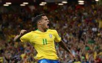 Philippe Coutinho celebra su gol contra Suiza el 17 de junio de 2018, el primer partido del grupo E que terminó en un empate. Credit Marko Djurica/Reuters