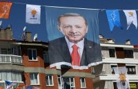 A banner supporting President Recep Tayyip Erdogan in Ankara, Turkey. The Turkish leader faces stiff opposition for presidential and legislative elections on June 24. (Adem Altanadem Altan/ AFP/GETTY IMAGES)