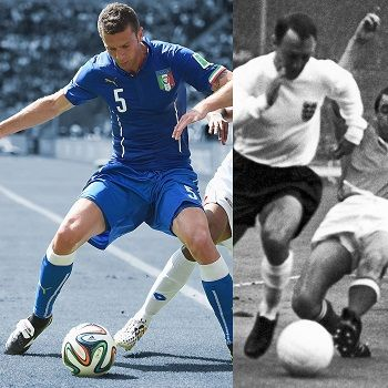 Thiago Motta, left, a player for Italy, in June 2014, and Jimmy Greaves, right, a player for England, in July 1966.CreditIllustration by Antonio De Luca, Photos by Laurence Griffiths/Getty and AP Photo