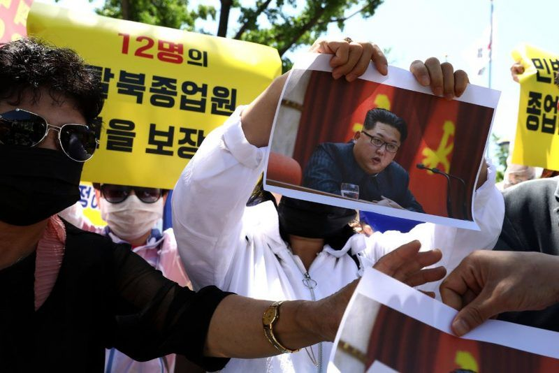 North Korean defectors protested in Seoul in May.CreditChung Sung-Jun/Getty Images