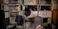 Worker's lockers in the abandoned Qingquan Steel plant. Kevin Frayer/Getty Images