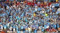 Simpatizantes de Uruguay animan a su selección durante el partido contra Arabia Saudita, el 20 de junio de 2018. Credit Khaled Elfiqi/Epa-Efe, vía Rex, vía Shutterstock