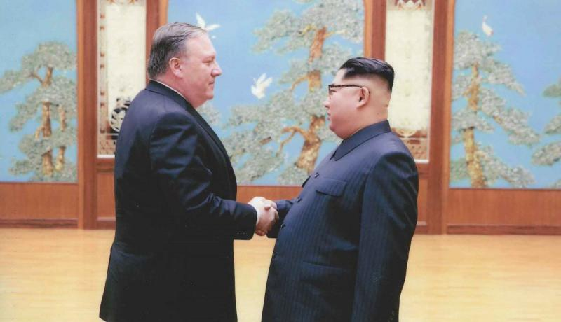 Mike Pompeo, then CIA director and now US secretary of state, shakes hands with Kim Jong Un in Pyongyang. Photo: The White House.