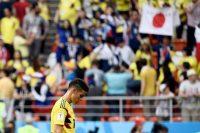 James Rodríguez, de Colombia, al final del partido de Copa del Mundo en el que su selección fue derrotada por Japón Credit Filippo Monteforte/Agence France-Presse — Getty Images