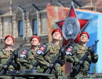 Russian soldiers at the Victory Day parade in May to mark the anniversary of victory over Nazi Germany.CreditWang Xiujun/China News Service, via VCG, via Getty Images