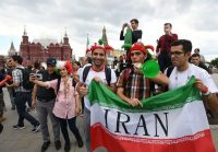 Iran soccer fans gather near Red Square in Moscow on Wednesday. (Facundo Arrizabalaga/EPA-EFE/Shutterstock)