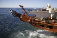 A diamond-mining ship off Namibia's coast last year suctioning sediment from the seabed.CreditSimon Dawson/Bloomberg