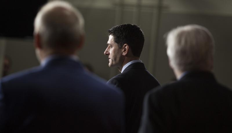 House Speaker Paul Ryan speaks after a Republican Conference meeting on Capitol Hill. Photo: Getty Images.