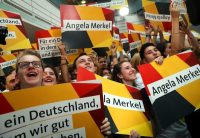 Supporters of German Chancellor Angela Merkel, watching the results in the German federal elections last year in Berlin, Germany.CreditSean Gallup/Getty Images
