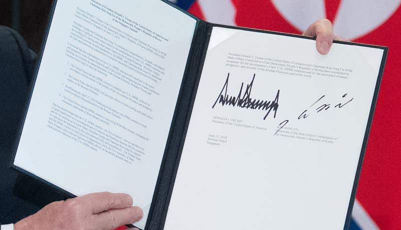 The document signed by Donald Trump and Kim Jong-un after their meeting in Singapore. Photo: Getty Images.