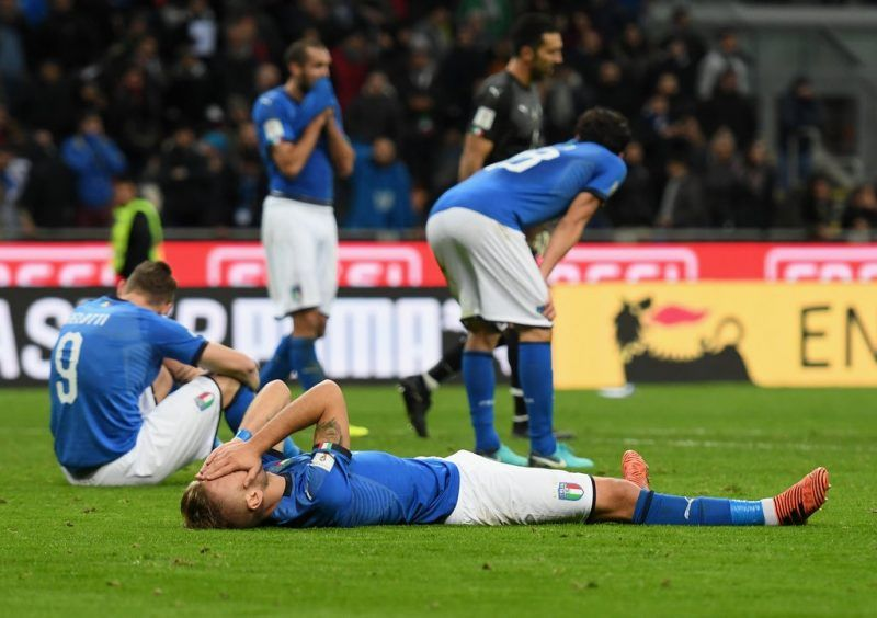 Players for Italy's team at the end of the FIFA 2018 World Cup Qualifier play-off with Sweden.CreditClaudio Villa/Getty Images
