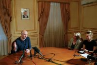 The Russian journalist Arkady Babchenko gave the details of his staged death to reporters on Thursday.CreditPool photo by Valentyn Ogirenko
