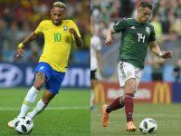 A la izquierda, el delantero brasileño Neymar durante el juego del Grupo E contra Serbia; y, a la derecha, el delantero mexicano Javier Hernández durante el primer partido del grupo F, entre México y Alemania. Credit Patrik Stollarz/Agence France-Presse — Getty Images