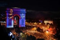 An image of the French forward Kylian Mbappé was projected on the Arc de Triomphe in Paris at a celebration of France's victory in the Russia 2018 World Cup on Sunday.CreditGerard Julien/Agence France-Presse — Getty Images