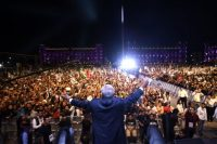 El presidente electo de México, Andrés Manuel López Obrador, durante su discurso de celebración en el Zócalo de Ciudad de México, el 1 de julio de 2018 Credit Alfredo Estrella/Agence France-Presse — Getty Images