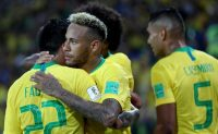 Neymar da Silva Santos Júnior, center, celebrating a goal with his teammates during Brazil's World Cup match against Serbia on Wednesday.CreditMichael Steele/Getty Images