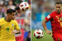 A la izquierda, el futbolista brasileño Philippe Coutinho, en Samara frente a México; a la derecha, el belga Eden Hazard, en Rostov frente a Japón Credit Fabrice Coffrini/Agence France-Presse — Getty Images; Odd Andersen/Agence France-Presse — Getty Images