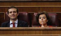 Los dos candidatos a la presidencia del Partido Popular (PP) de España, Pablo Casado y Soraya Sáenz de Santamaría, en el Parlamento en Madrid, el 20 de junio de 2018. Credit Javier Lizón, vía Epa-Efe, vía Rex, vía Shutterstock