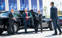 President Trump was greeted by Secretary General Jens Stoltenberg as he arrived at NATO headquarters in Brussels on Wednesday.CreditDoug Mills/The New York Times